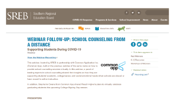 SREB Webinar Follow up on Counseling
